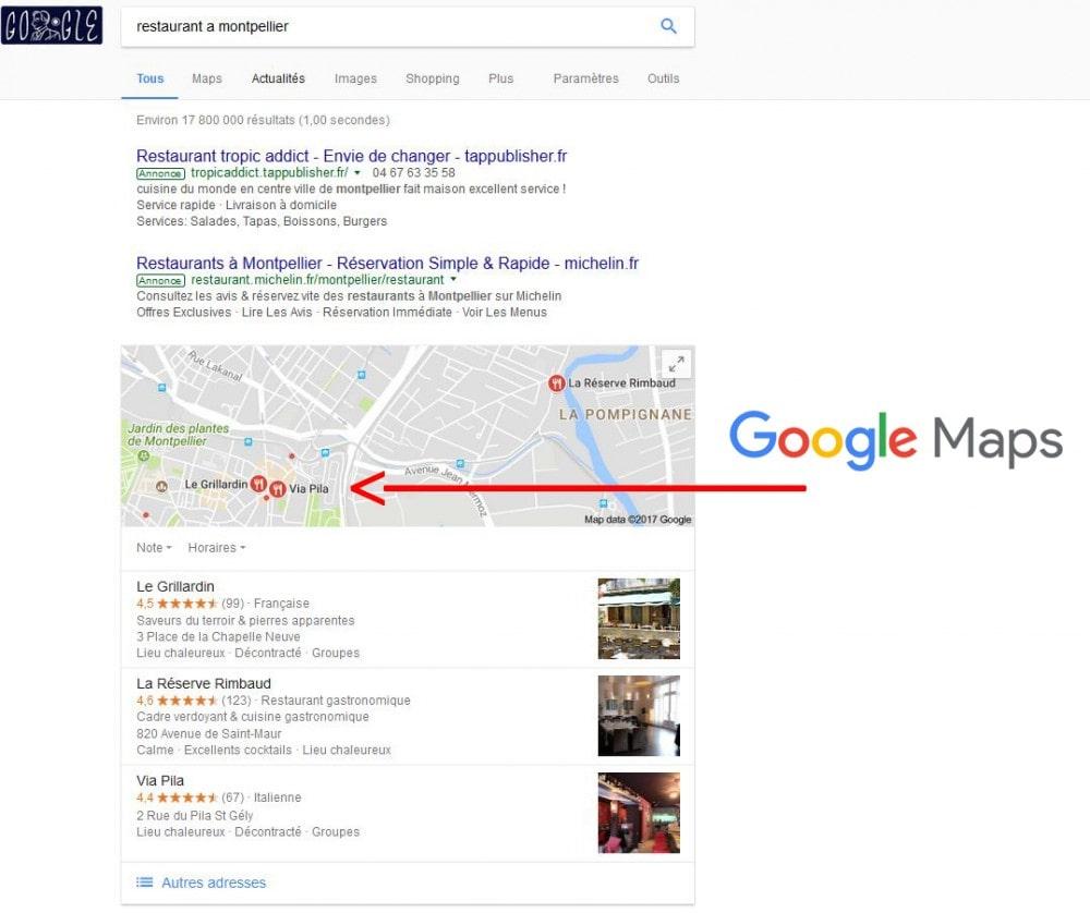 Requête Google affichage géolocalisation maps