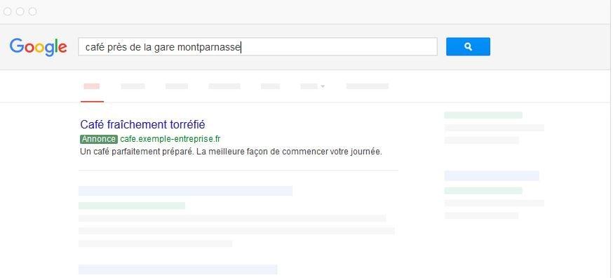 Google adwords recherche locale