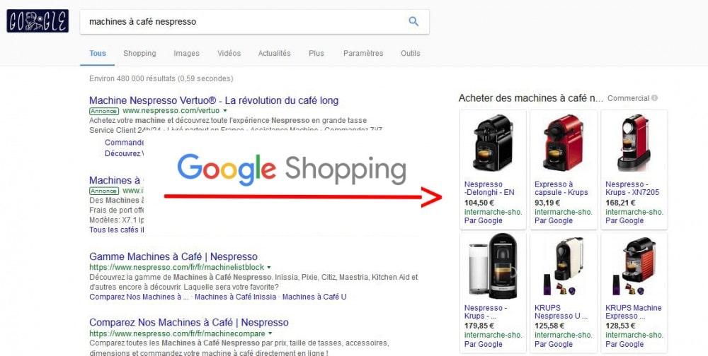 Google Shopping affichage publicité sponsorisé (payante)