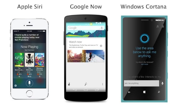 Siri APPLE, Google Now, Windows cortana